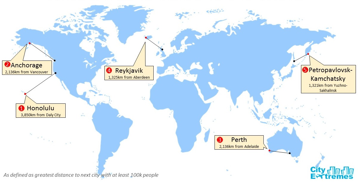 Cityextremes most isolated cities topping the list is honolulu hawaii at 3850km from its closest city of 100k daly city in california in a tight race for second are anchorage alaska and gumiabroncs Images